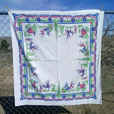 Vintage Colorful Mexican Southwest Fiesta Tablecloth Cactus Donkey Sombrero JS&S