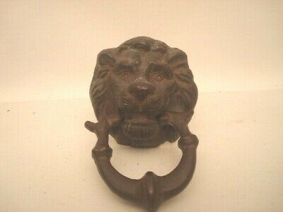 Antique Small Lion  Head Door Knocker  SOLID BRASS  3 1/2 inches