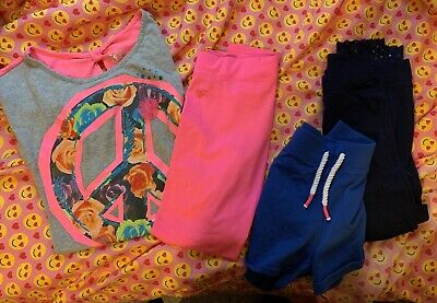 Lot of 4 Pieces Girl's Size 10 Justice Shirt Shorts Yoga Pants Summer Spring