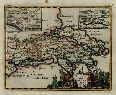 Greece Achaia Attica Athens Corinth Thebes Euboia 1711 fine decorative map