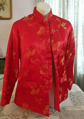 Vintage Red Pium Blossom Bed Jacket Mandarin Kimono Asian Satin Quilted Robe L