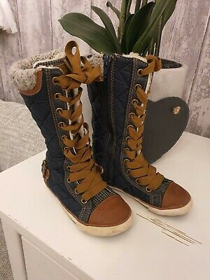 Next Girls Boots Lace Up Winter Shoes Kids UK 9 EUR  26.5 Junior Trainers
