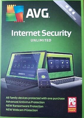 AVG Internet Security 2020 - Unlimited Devices Windows/Android 1 Years Brand New