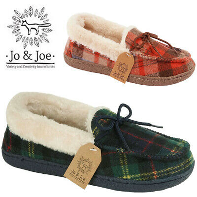 Ladies Tartan Textile Fur Lined Loafers Casual On Pumps Moccasin Women Shoes UK