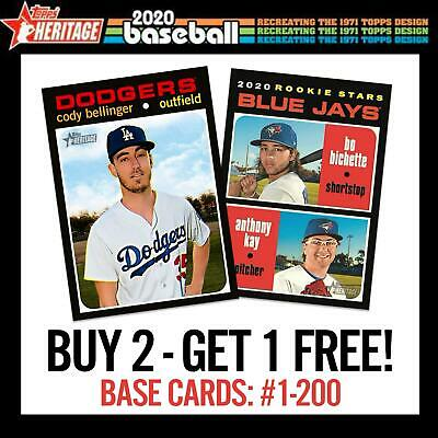 2020 Topps Heritage Buy 2 Get 1 Free Complete Your Set U Pick Your Cards #1-200