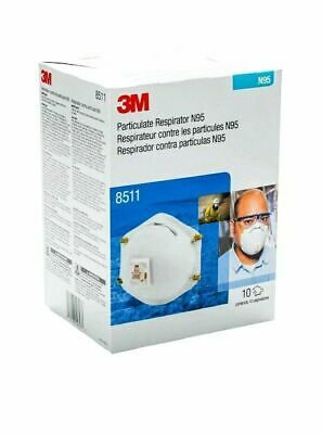 3M N95 8511 Respirator Mask with Cool Flow Valve NIOSH Approved QTY 10 Pcs/Box