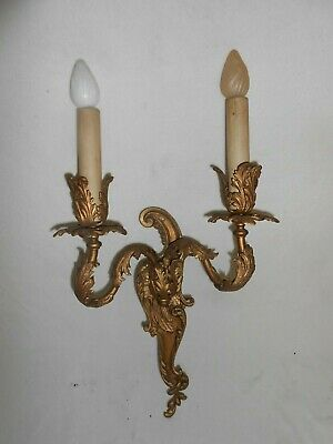 Antique Rococo Sconce French Brass Bronze Louis Wall Lamp Fixture