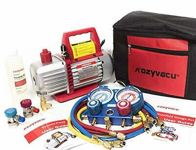 Kozyvacu AUTO AC Repair Complete Tool Kit with 1-Stage 4.5 CFM Vacuum Pump