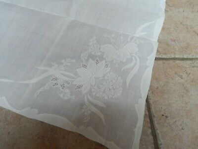 """Antique Vintage Italian Off White Madeira Hand Embroidered Table Runner 44"""" X 17"""