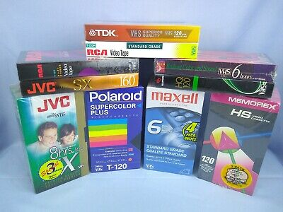 Lot of 20 New Sealed Blank VHS Tapes - Various Brands