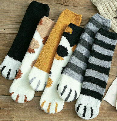 Cat Claw Paw Socks Cute Lovely Soft Warm Sleep Floor Ankle Coral Home Women Girl