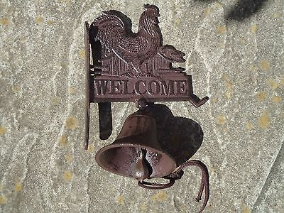 Heavy Cast Iron Door Bell with Welcome Rooster Sign - Farm Hen House /Ringer
