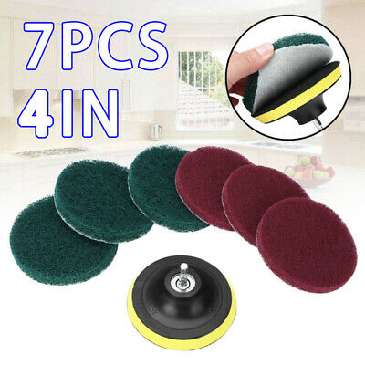 7pcs Power Scrubber Kit Bathroom Kitchen Tile Floor Scrubbing Cleaning Pads Kit