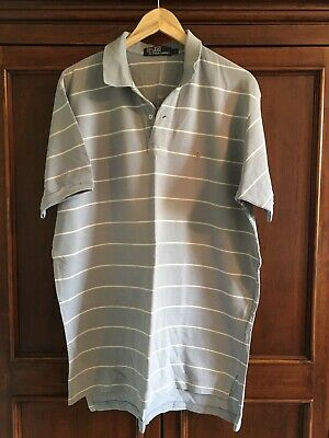POLO by RALPH LAUREN Polo Shirt XL Grey White Stripes Retro Fit