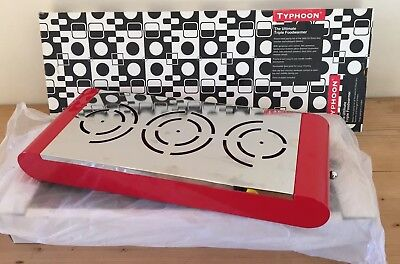 BNIB - Typhoon 3 Burner Tealight Food Warmer - 'Ultimate' Retro Red Curved Metal