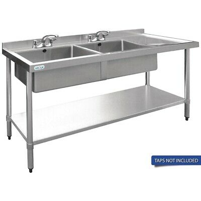 Vogue Double Bowl Sink R/H Drainer - 1500mm 90mm Drain