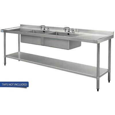 Vogue Double Bowl Sink Double Drainer - 2400mm 90mm Drain
