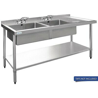 Vogue Double Bowl Sink R/H Drainer - 1800mm x 700mm 90mm Drain