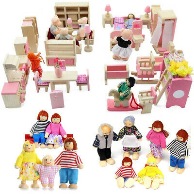 Kid's Children Wooden Furniture Dolls Family House Miniature 6 Room Set Doll Toy