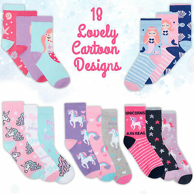* Girls 3 Pairs Socks Cotton Rich Cute Colourful Unicorn Mermaid Novelty Cartoon