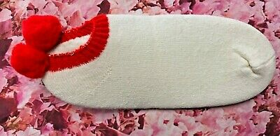 Vintage White With Red PomPom Socks Footies Booties New