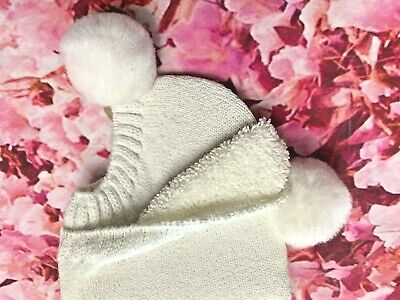 Vintage White With White PomPom Socks Footies Booties New