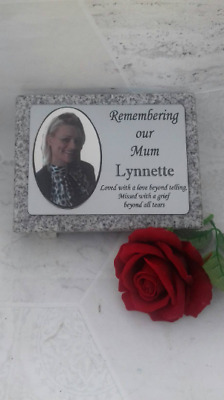 Personalised Grey Granite not Marble Engraved Photo Memorial Grave Plaque Stone