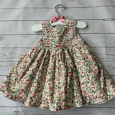 Baby Girls 0-3 Months - Dress - MOTHERCARE White Pink Floral Cord Corduroy Lined