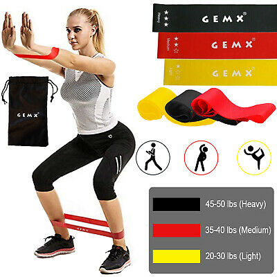 Set of 3 Booty Resistance Band Exercise Fitness Glutes Latex Loop Bands Yoga UK
