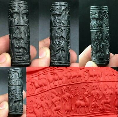 Wonderful Rare Ancient black Agate Stone Sassanian Unique Cylinder Seal Intaglio