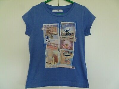Girls M&S Short Sleeved Blue T Shirt Age 6 - 7 years