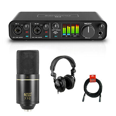 Motu M4 4x4 USB Audio Interface w/ MXL 770 Cardioid Mic, Headphone & XLR Cable
