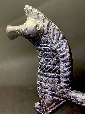 Ancient Greek War Horse Statuette In Bronze With Detailed Decorations