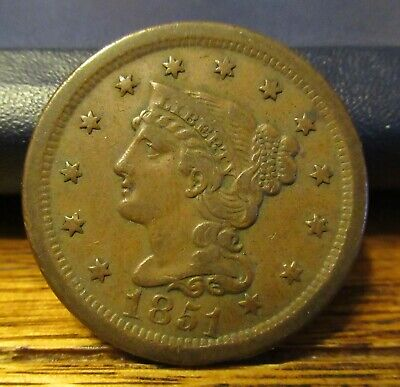 1851 Braided Hair Large Cent, Decent Detail and Color, Better Grade