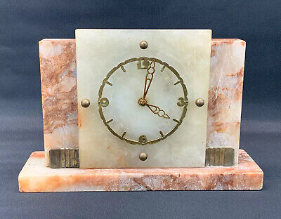 Vintage Art Deco Marble & Onyx Mantle Clock by Davall (British, retro, 8 day)