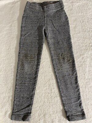 Crewcuts Girls Size 7 Heather Gray Space Dyed Cozy Leggings Gold Polka Dot Knees
