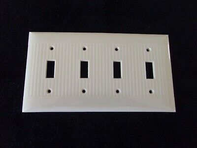 Vintage Sierra Quadruple 4 Gang Switch Plate Ivory Cream Bakelite Ribbed USA