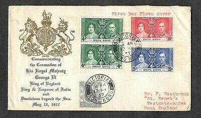 Hong Kong - 1937 Coronation illustrated first day cover to Westgate on Sea.