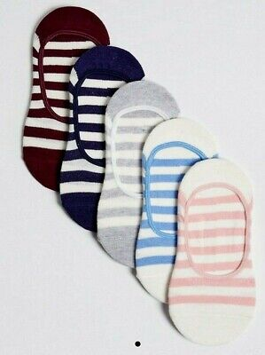 New 5 Pairs Girls Striped No Show Trainer Liner Socks Marks & Spencer 3-6 Years