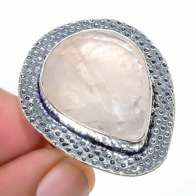 Rose Quartz Gemstone 925 Sterling Silver Jewelry Ring Size 8 8716