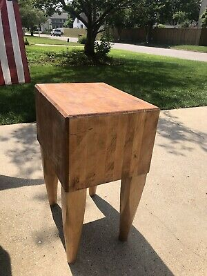 Vintage Solid Maple Heavy Duty Butcher Block Table Island Work Surface will ship