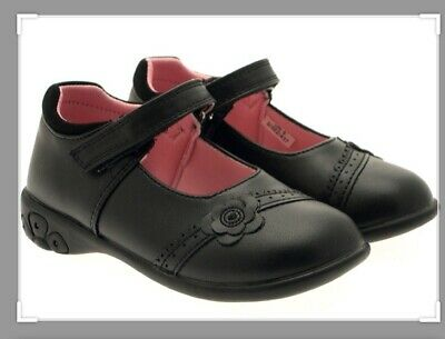 Kidsway Chatterbox Boys Black Leather School Shoes with Touch Fastening
