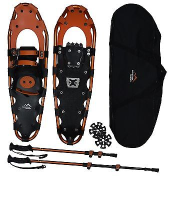 Mountain Tracks Pro Series Snowshoe Set with Poles & Carry Bag (72cm or 2.35ft)