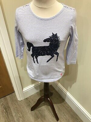 Joules Girls 3/4 Blue & White Stripe Top With Sequinned Horse Age 9-10