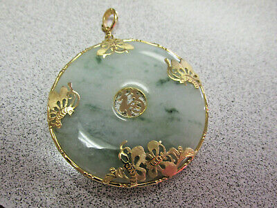 Beautiful Large Green Jadeite Holith Pendant with 14k Gold Butterflys NO RESERVE