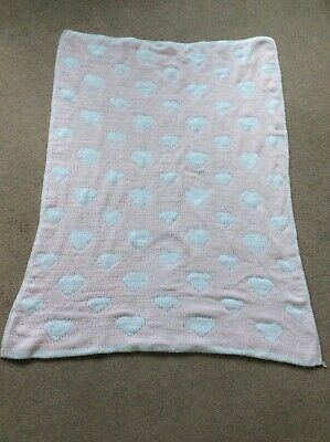 Baby Girls Pale Pink With Hearts Soft Touch Reversible Blanket