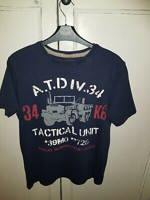 NEXT Boys Dark Blue  red white Tactical Army design T Shirt Age 12
