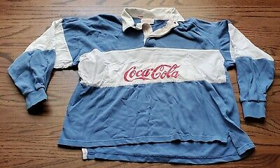 Vintage Coca-Cola Blue & White Rugby Style Long Sleeve Polo Shirt Spell Out  M?