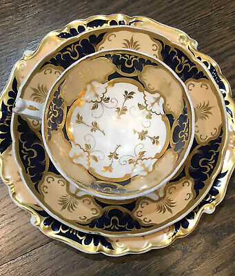 Antique English Coalport TRIO Teacup Saucer Plate COBALT BLUE PEACH GOLD GILT