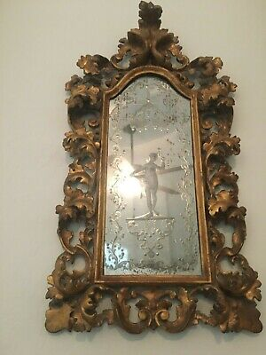 Original 19th Century Italian Rococo Hand Carved Giltwood & Etched Mirror MB66